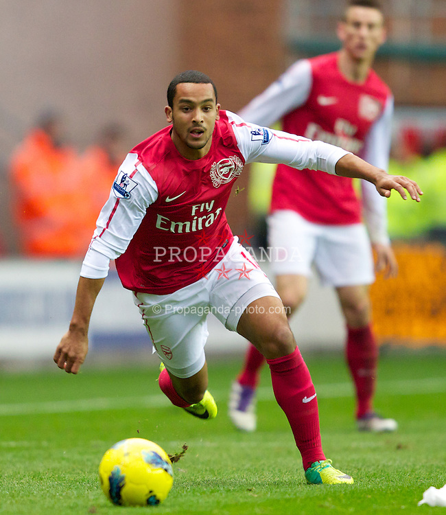 WIGAN, ENGLAND - Saturday, December 3, 2011: Arsenal's Theo Walcott in action against Wigan Athletic during the Premiership match at the DW Stadium. (Pic by Vegard Grott/Propaganda)