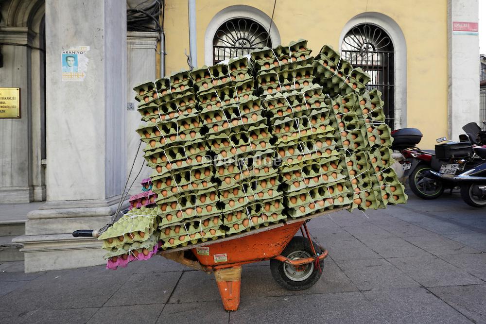 wheelbarrow loaded with eggs