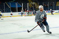 KELOWNA, BC - SEPTEMBER 23:  Adam Larsson #6 of the Edmonton Oilers skates during practice at Prospera Place on September 23, 2019 in Kelowna, Canada. (Photo by Marissa Baecker/Shoot the Breeze)