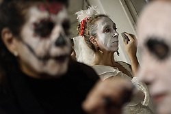 November 3, 2018 - Athens, Greece - Participant seen preparing themselve before the parade start..People take part at the annual day of the Dead Parade as part of the celebrations of Mexico's Day of the Dead festival in Athens. (Credit Image: © Giorgos Zachos/SOPA Images via ZUMA Wire)