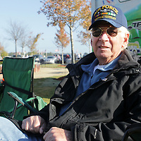 Adam Robison | BUY AT PHOTOS.DJOURNAL.COM<br /> Air Force Veteran Roger Tubbs, of Tupelo, sits and waits for the Veterans Day Ceremony to start at Veterans Park in Tupelo on Wednesday morning.