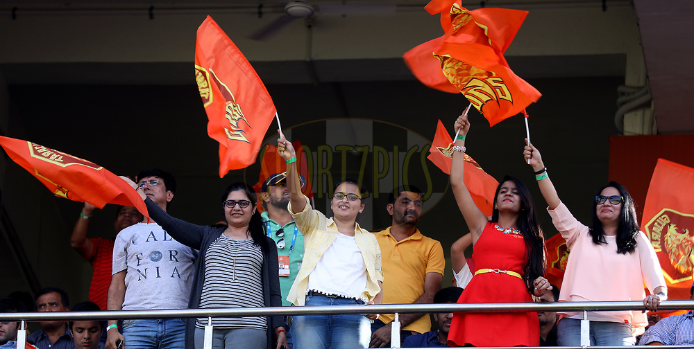 Fans enjoy during match 26 of the Vivo 2017 Indian Premier League between the Gujarat Lions and the Kings XI Punjab held at the Saurashtra Cricket Association Stadium in Rajkot, India on the 23rd April 2017<br /> <br /> Photo by Sandeep Shetty - Sportzpics - IPL