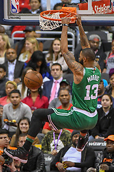 April 10, 2018 - Washington, DC, U.S. - WASHINGTON, DC - APRIL 10:  Boston Celtics forward Marcus Morris (13) scores on a dunk on April 10, 2018 at the Capital One Arena in Washington, D.C.  The Washington Wizards defeated the Boston Celtics, 113-101.  (Photo by Icon Sportswire) (Credit Image: © Icon Sportswire/Icon SMI via ZUMA Press)