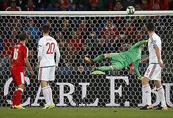 BASEL, Oct. 8, 2017  Hungary's goalkeeper Peter Gulacsi (2nd R) competes during the FIFA World Cup 2018 Qualifiers Group B match between Switzerland and Hungary in Basel, Switzerland, Oct. 7, 2017. Switzerland won 5-2. (Credit Image: © Ruben Sprich/Xinhua via ZUMA Wire)