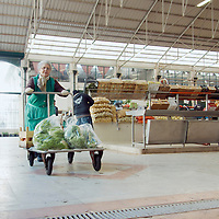 Woman carrying cart of bought vegetables
