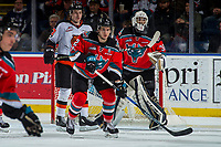 KELOWNA, CANADA - NOVEMBER 25: James Hilsendager #2 of the Kelowna Rockets looks for the pass against the Medicine Hat Tigers on November 25, 2017 at Prospera Place in Kelowna, British Columbia, Canada.  (Photo by Marissa Baecker/Shoot the Breeze)  *** Local Caption ***
