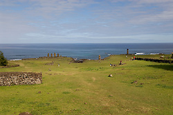 Chile, Easter Island: Wide angle view of historic village called Ahu Tahai, near Hanga Roa..Photo # 232-22594..Photo copyright Lee Foster www.fostertravel.com lee@fostertravel.com 510-549-2202