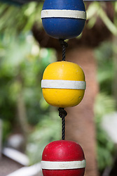 detail of a colorful buoy