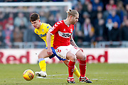 Leeds United midfielder Jamie Shackleton (46) in action  during the EFL Sky Bet Championship match between Middlesbrough and Leeds United at the Riverside Stadium, Middlesbrough, England on 9 February 2019.