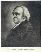 William Herschel (1738-1822) German-born English astronomer: Discovered first new planet since ancient times, Uranus. Built telescopes including his famous 40ft reflector. Engraving