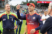 Dane Vilas spins the coin at the toss of the Vitality T20 Blast North Group match between Lancashire Lightning and Leicestershire Foxes at the Emirates, Old Trafford, Manchester, United Kingdom on 30 August 2019.