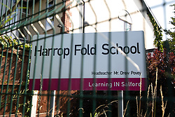 "© Licensed to London News Pictures. 19/07/2018. Salford, UK. Harrop Fold School in Little Hulton is closed for a protest by parents , objecting to the outcome of a months-long investigation in to record keeping which, it is alleged, revealed that data relating to pupils' performance was embellished and which has seen the school's popular headmaster suspended from duty. Parents planned a protest following the suspension of head master Drew Povey alongside three other members of staff . The school , which has been featured in the documentary "" Educating Greater Manchester "" will remain closed throughout the day . Photo credit: Joel Goodman/LNP"