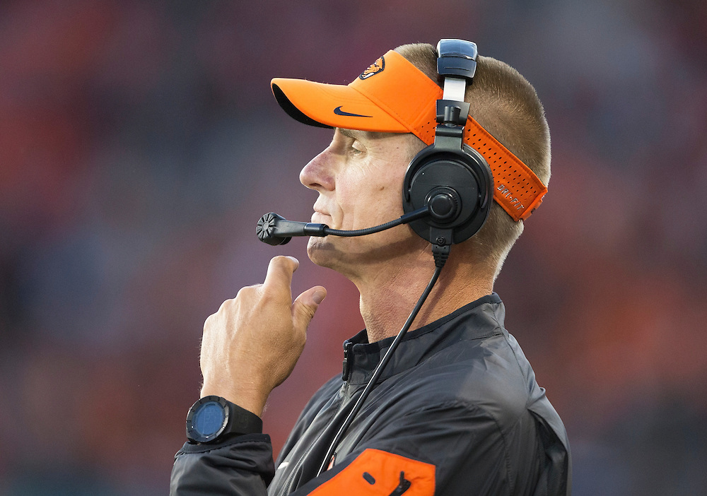 Oregon State head coach Gary Andersen looks on during the the Beavers' 26-7 victory Weber State in the 2015 season opener in Reser Stadium, in Corvallis, on Friday, Sept. 4, 2015.