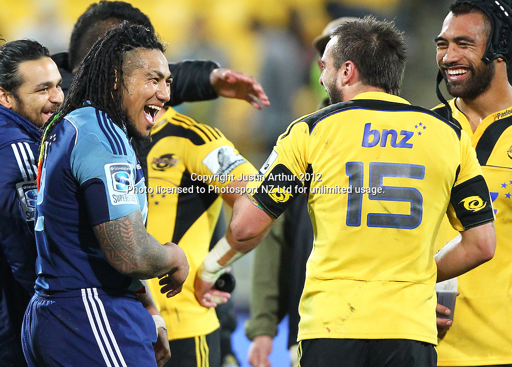 Hurricanes' Andre Taylor and Blues' Ma'a Nonu during the 2012 Super Rugby season, Hurricanes v Blues at Westpac Stadium, Wellington, New Zealand on Friday 4 May 2012. Photo: Justin Arthur / photosport.co.nz