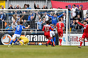 Eastleigh Forward, Matt Tubbs (10) scores to make it 1-1 during the Vanarama National League match between Eastleigh and Wrexham FC at Arena Stadium, Eastleigh, United Kingdom on 29 April 2017. Photo by Adam Rivers.