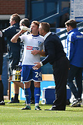 Bury Midfielder,  Callum Styles (24) and Bury Manager, Lee Clark during the EFL Sky Bet League 1 match between Bury and Bristol Rovers at the JD Stadium, Bury, England on 19 August 2017. Photo by Mark Pollitt.