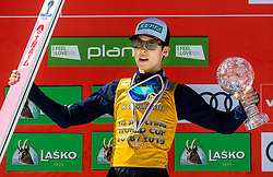 Ryoyu Kobayashi (JPN) celebrates at trophy ceremony as winner in FIS Ski Flying 2018/19 Classification after the Ski Flying Hill Individual Competition at Day 4 of FIS Ski Jumping World Cup Final 2019, on March 24, 2019 in Planica, Slovenia. Photo by Vid Ponikvar / Sportida