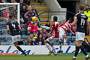 5th May 2018, Dens Park, Dundee, Scotland; Scottish Premier League football, Dundee versus Hamilton Academical; Dundee goalkeeper Elliott Parish clutches the ball off the toe of Mickel Miller of Hamilton Academical