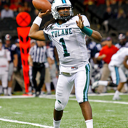 September 22, 2012; New Orleans, LA, USA; Tulane Green Wave quarterback Devin Powell (1) throws against the Ole Miss Rebels during the fourth quarter of a game at the Mercedes-Benz Superdome. Ole Miss defeated Tulane 39-0. Mandatory Credit: Derick E. Hingle-US PRESSWIRE