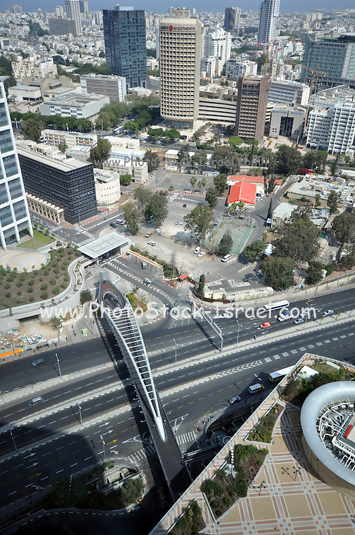 Israel, Tel Aviv, Elevated view of the Ayalon Highway at the HaShalom junction