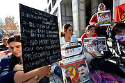 Kurdish women hunger strikers outside the United Nations University in Omote Sando, Tokyo, Japan. Friday November 9th 2012. The strike lasted from 8am to 8pm to show solidarity with nearly 800 Kurdish political prisoners held in Turkey who have been on hunger strike for 2 months