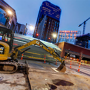 Streetcar construction work at 12th & Main Streets, downtown Kansas City, MIssouri.