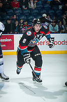 KELOWNA, CANADA - DECEMBER 3: Colten Martin #8 of Kelowna Rockets skates against the Saskatoon Blades on December 3, 2014 at Prospera Place in Kelowna, British Columbia, Canada.  (Photo by Marissa Baecker/Shoot the Breeze)  *** Local Caption *** Colten Martin;