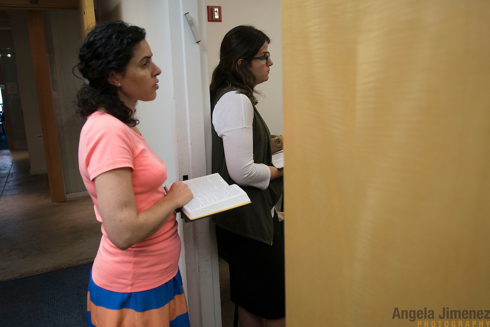 Maharat students Ramie Smith (Class of 2016), right, and Dr. Anat Sharbat (Class of 2015) attend afternoon prayer services at Drisha.<br /> <br /> The female students of Yeshivat Maharat, &quot;the first institution to train Orthodox women as spiritual leaders and halakhic authorities,&quot; study at the Drisha Institute in New York City in preparation for the school's inaugural graduation on June 16, 2013. <br /> <br /> Three women will be the first to graduate from the four-year school and will be given the title &quot;Maharat&quot;, a Hebrew acronym for &quot;Manhiga Hilkhatit Rukhanit Toranit&quot; which translates to a teacher of Jewish law and spirituality.The school, which currently has 14 students, was founded by Rabbi Avi Weiss. Rabbi Wiess controversially ordained the first female Orthodox Rabba in history, Rabba Sara Hurwitz, who serves as the dean of the school. <br /> <br /> <br /> Photo by Angela Jimenez <br /> www.angelajimenezphotography.com