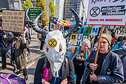 Blocking Park Lane and Marble Arch - Protestors from Extinction Rebellion block several (Hyde Park, Oxford Circus, Piccadilly Circus, Warterloo Bridge and Parliament Square) junctions in London as part of their ongoing protest to demand action by the UK Government on the 'climate chrisis'. The action is part of an international co-ordinated protest.