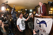The Reality Party candidate for the Thanet South seat confronts Al Murray - The Pub landlord on the campaign trail in Sandwich, 13th March 2015.