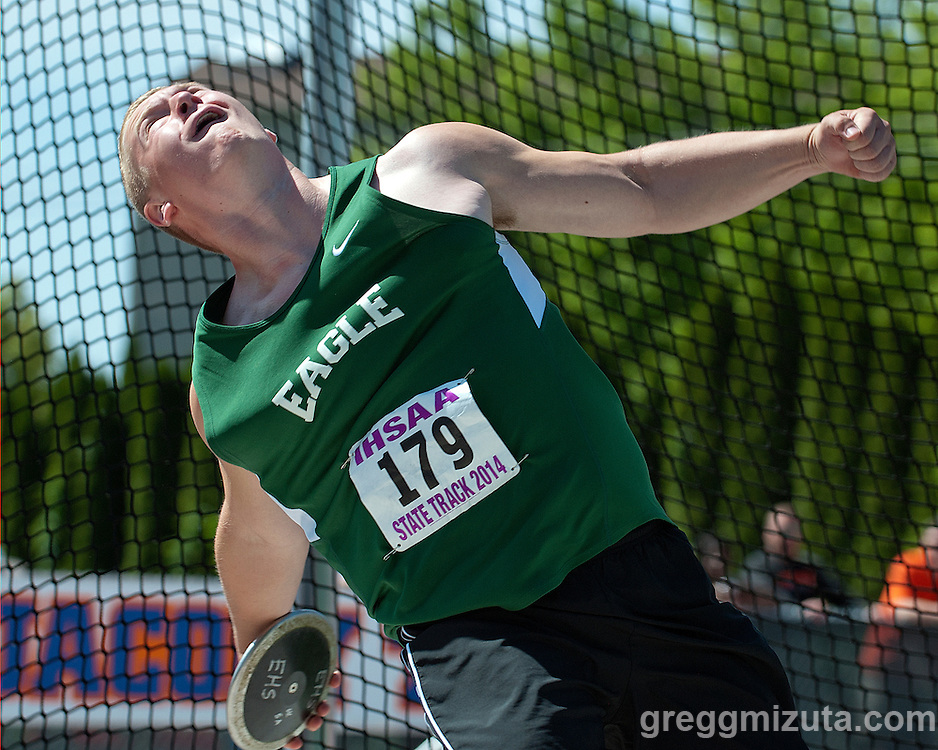 Eagle sophomore Luke Leonnig competes in the discus event during Idaho 5A State Track & Field Championships at Dona Larsen Park, Boise, Idaho on May 17, 2014. Jankowski finished twelfth with a throw of 117-08.