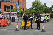 Police security with machine guns  before the One Love Manchester Concert at the Emirates Old Trafford Cricket Ground, Manchester, United Kingdom on 4 June 2017. Photo by Phil Duncan.