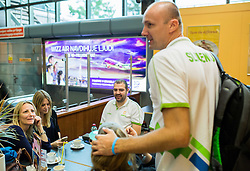 Jure Zdovc, head coach of Slovenia with his wife and kids at departure of Slovenian Basketball Team to Las Palmas on Gran Canaria for World Championship Spain 2014  on August 24, 2014 in Letalisce Jozeta Pucnika, Brnik, Slovenia. Photo by Vid Ponikvar / Sportida