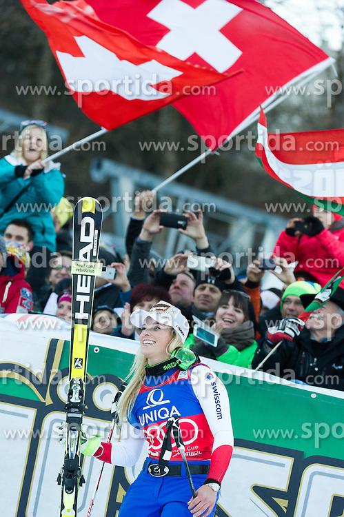 28.12.2015, Hochstein, Lienz, AUT, FIS Ski Weltcup, Lienz, Riesenslalom, Damen, Siegerehrung, im Bild Lara Gut (SUI, 1. Platz) // Winner Lara Gut of Switzerland during award ceremony after ladies Giant Slalom of the Lienz FIS Ski Alpine World Cup at the Hochstein in Lienz, Austria on 2015/12/28. EXPA Pictures © 2015, PhotoCredit: EXPA/ Michael Gruber