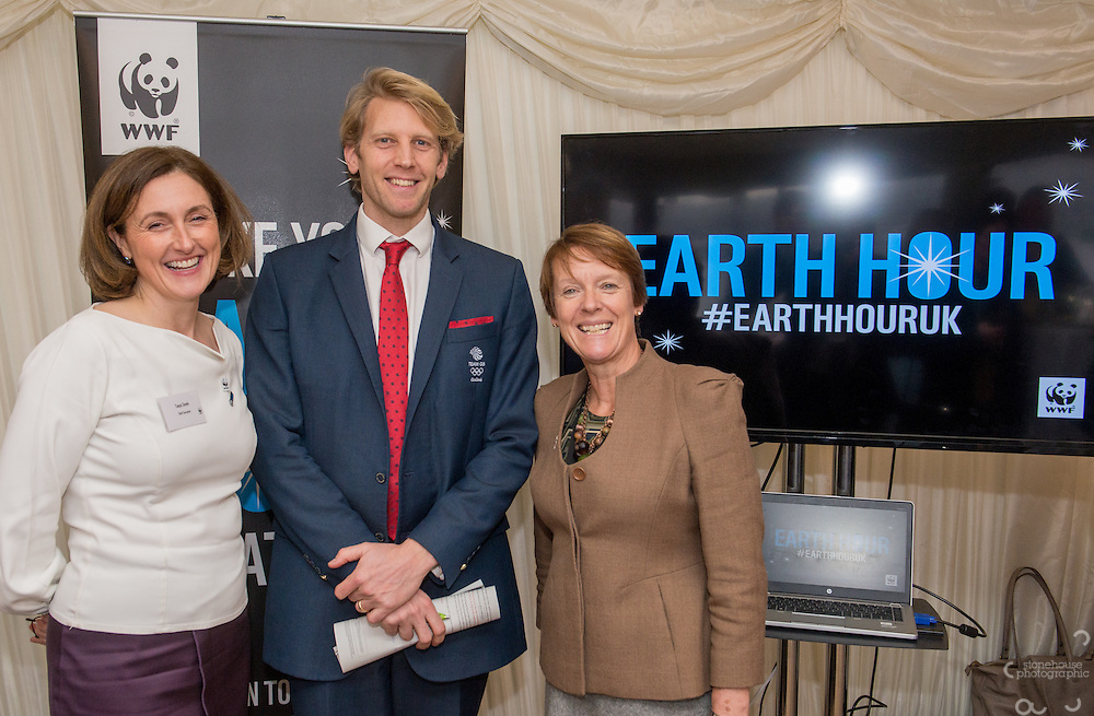 Tanya Steele WWF UK Ceo, Andrew Triggs Hodge OBE with Dame Caroline Spelman MP at the WWF UK Earth Hour 10th Anniversary Parliamentary Reception, Terrace Pavilion, Palace of Westminster. 28th Feb. 2017