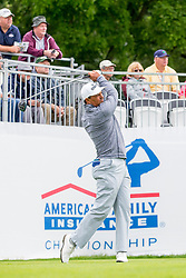 June 22, 2018 - Madison, WI, U.S. - MADISON, WI - JUNE 22: Tom Pernice Jr. tees off on the first tee during the American Family Insurance Championship Champions Tour golf tournament on June 22, 2018 at University Ridge Golf Course in Madison, WI. (Photo by Lawrence Iles/Icon Sportswire) (Credit Image: © Lawrence Iles/Icon SMI via ZUMA Press)