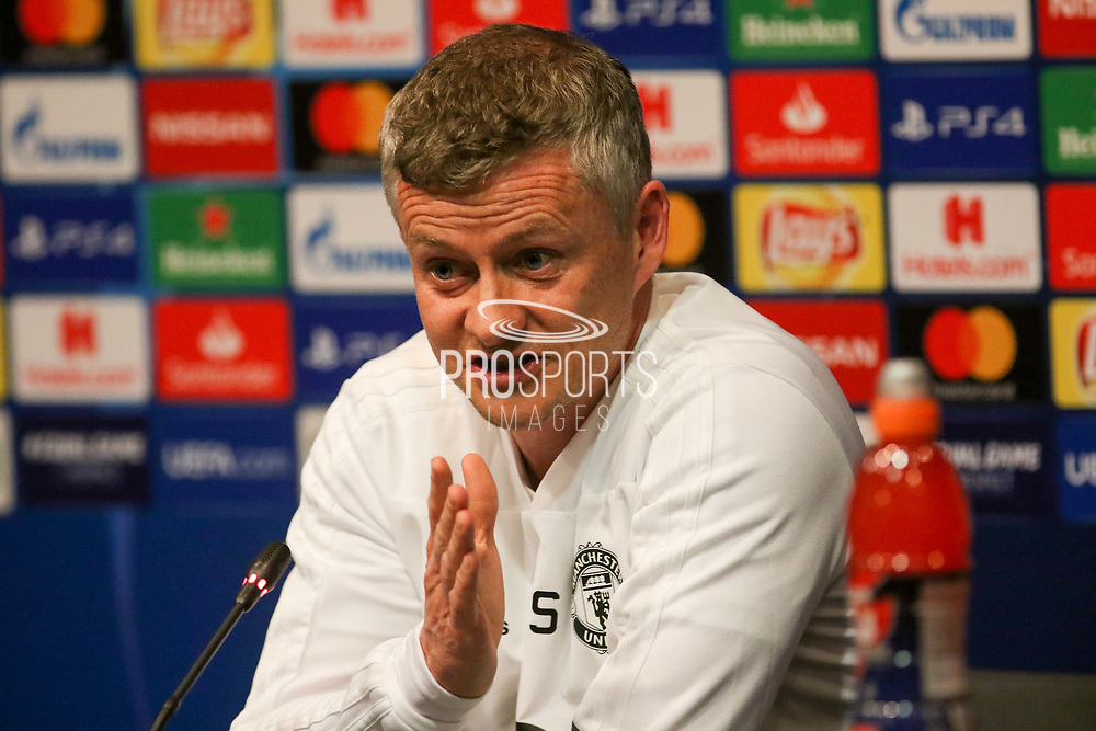 Ole Gunnar Solskjaer speaking during the Manchester United FC Press Conference ahead of the Champions League Quater-Final 2nd leg at Camp Nou, Barcelona, Spain on 15 April 2019.