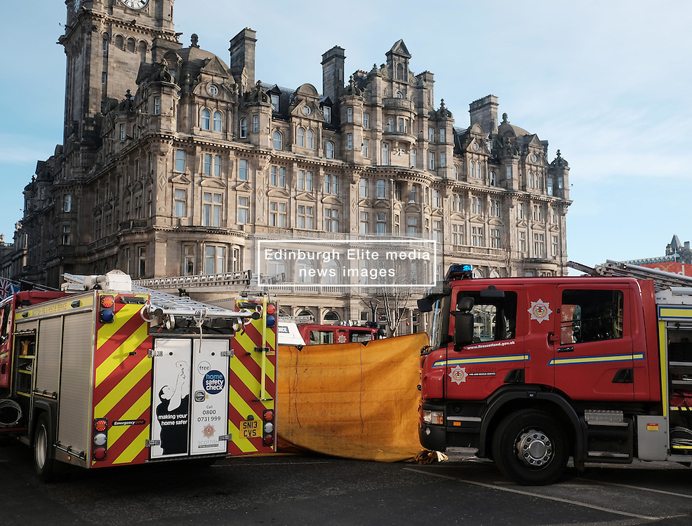 Traffic Accident, Princes Street, Edinburgh, Thursday 5th January 2017<br /> <br /> A pedestrian was knocked down and trapped under a taxi at lunchtime today in the east end of Princes Street, Edinburgh<br /> <br /> Police, Fire and Ambulance services all attended to attempt to release the person from under the taxi. <br /> <br /> (c) Alex Todd   Edinburgh Elite media