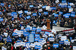View on the crowd from Brooklyn College Library window as thousands gathered at the school's East Quad to see Bernie Sanders, Independent US Senator from Vermont kicks-off his campaign for the 2020 U.S. Presidential Elections on a Democratic ticket at a rally at Brooklyn Collage, in Brooklyn, NY on March 2, 2019.