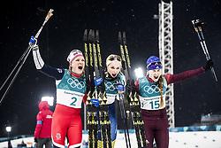 February 13, 2018 - Stockholm, Sweden - OS 2018 i Pyeongchang. Sprint, damer. Stina Nilsson, längdskidÃ¥kare Sverige, vann, Majken Kaspersen Falla, Norge, kom tvÃ¥a och Julia Belorukova, Ryssland, kom trea.. tävling action landslaget guld glad jublar segergest (Credit Image: © Orre Pontus/Aftonbladet/IBL via ZUMA Wire)