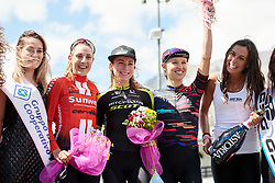 Top three on the stage Annemiek van Vleuten (NED), Lucinda Brand (NED) and Kasia Niewiadoma (POL) at Stage 5 of 2019 Giro Rosa Iccrea, a 88.8 km road race from Ponte in Valtellina to Lago di Cancano, Italy on July 9, 2019. Photo by Sean Robinson/velofocus.com
