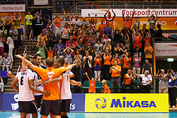 01-09-2012 VOLLEYBAL: WORLD LEAGUE 2013 QUALIFICATION NETHERLANDS - PORTUGAL : ROTTERDAM<br /> The public cheers for the win of the Netherlands