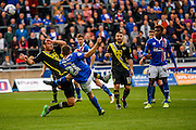 Carlisle United Forward Steven Rigg shot goes over the bar during the Sky Bet League 2 match between Carlisle United and Morecambe at Brunton Park, Carlisle, England on 10 October 2015. Photo by Craig McAllister.