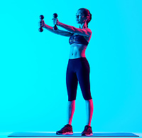 one mixed races woman exercsing weights fitness exercices isolated on blue blackground