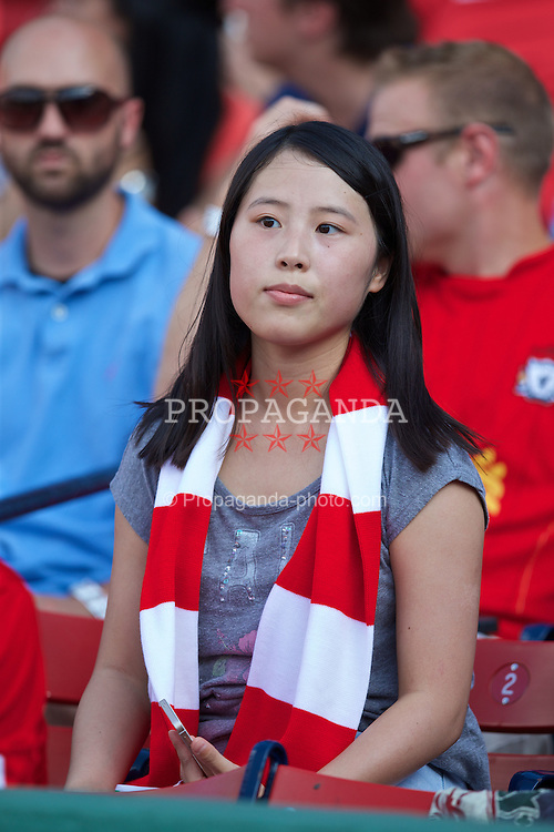 BOSTON, USA - Tuesday, July 22, 2014: Liverpool supporters during a training session at Fenway Park in Boston on two one of the club's USA Tour. (Pic by David Rawcliffe/Propaganda)