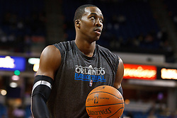 March 9, 2011; Sacramento, CA, USA;  Orlando Magic center Dwight Howard (12) warms up before the game against the Sacramento Kings at the Power Balance Pavilion.
