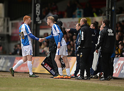 Rory Gaffney of Bristol Rovers is replaced by Oliver McBurnie of Bristol Rovers - Mandatory byline: Alex James/JMP - 19/03/2016 - FOOTBALL - Rodney Parade - Newport, England - Newport County v Bristol Rovers - Sky Bet League Two