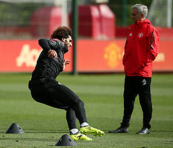 Manchester United manager Jose Mourinho and Marouane Fellaini - Mandatory by-line: Matt McNulty/JMP - 11/09/2017 - FOOTBALL - AON Training Complex - Manchester, England - Manchester United v FC Basel - Press Conference & Training - UEFA Champions League - Group A