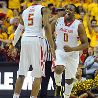 16 February 2013:   Maryland Terrapins forward Charles Mitchell (0) reacts after a basket in action against the Duke Blue Devils at the Comcast Center in College Park, MD. where the Maryland Terrapins defeated the Duke Blue Devils, 83-81.