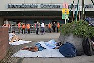 Refugees sleep outside of  ICC Berlin